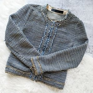 Zara Basic tweed boucle blazer career Medium